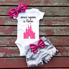 Summer Newborn Baby Girl Short Sleeve Top Romper Sequin Pants Outfit Set Clothes