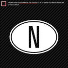 (2x) Norway Oval Sticker Die Cut country code N many colors