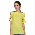 Lidies summer fashion hollow short-sleeve T-shirt chiffon shirt Slim tops S-5XL
