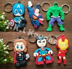 Lot Superman spider-man Avengers Rubber Key Chain Ring Keychain Free Shipping