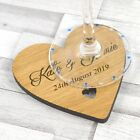 Wooden Heart Wedding Table Coaster - Personalised Keepsake Favours for Guests
