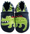carozoo crocodile dark blue soft sole leather slippers up to 8 years old