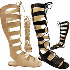 NEW LADIES FLAT KNEE HIGH TALL LACE UP PEEP TOE GLADIATOR SANDALS SHOES ZIP SIZE