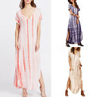 Plus Size UK 8-26 Women's V Neck Short Sleeve Beach Long Maxi Dress Sun Dresses