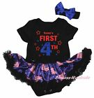 Personalize First 4th July Black Bodysuit Blue USA Flag Girls Baby Dress NB-18M