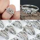 10-100Pcs Wholesale Lots Lovers Ring Rhinestone Silver Plated Wedding CP Rings