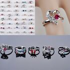 5-100Pcs Wholesale Lots CZ Crystal Children Kids Silver Plated Adjustable Rings