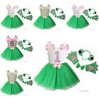 Girls 1st-6th Birthday Tank Frog Ears Bowtie Tail Tutu Paws Costume Dress Outfit