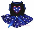 Star Heart 4th July Black Cotton Top Blue Patriotic Star Pet Dog Puppy Cat Dress