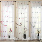 Pearls Voile Panel Floral Embroidered Sheer Curtain Net Panel Pink, Red or Teal