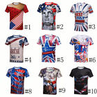 US Independence Day 3D Print Men Blouse Short Sleeve Casual Graphic Tee Shirt