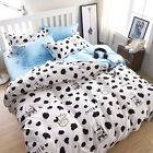 White Black Cow Single Double King Size Bed Pillowcase Quilt Duvet Cover Set