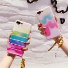 For iPhone7 7Plus 6 6s Korea Cute Rainbow Striped Candy Pendant Wristband Case