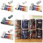36/48/72 Holes Canvas Wrap Roll Up Pencil Bag Pen Case Holder Storage Pouch BL