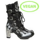 New Rock Womens M.TR081-C3 Black Grey Vegan Boots - Punk, Gothic, Shoes - [SO]