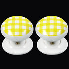 Porcelain Mortice Door Knobs White With Yellow Gingham Design 60mm (Pair)