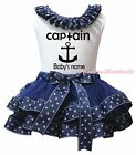 Personalize Captain White Top Navy Blue Sailor Satin Trim Skirt Girls Set NB-8Y