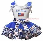 America US Flag 4th July White Top Blue USA Flag Satin Trim Skirt Girl Set NB-8Y