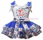 Happy 4th July Star White Top Blue USA Flag Satin Trim Skirt Girls Outfit NB-8Y