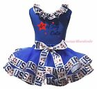 4th July Cutie Blue Cotton Top USA Flag Satin Trim Skirt Girls Outfit Set NB-8Y