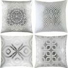 "METALLIC PRINTED CUSHION COVER MODERN METAL FOIL CUSHION COVERS SILVER 17"" x 17"""