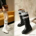 Women's Round Toe Wedge Flat Heels Fashion Knee High Boots Fur Lined Snow Shoes