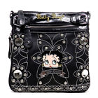 Betty Boop Blink Embroidered flora L Rhinestones satchel bag B14A36 2 COLORS $22.07 USD
