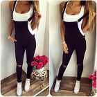 Fashion Summer Womens Romper Jumpsuits Overall Ripped Holes Slim Overalls Black
