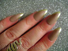 Hand Painted False Nails Full Cover Press on Nails Matte Mocha Gold Tip