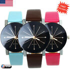 Fashion Women Leather Stainless Steel Date Sport Dial Quartz Analog Wrist Watch
