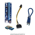 USB 3.0 PCI-E Express 1xto16x Extender Riser Card Adapter 30/50/60CM Cable lot S