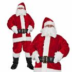 Mens Regal Plush 8 Piece Professional Santa Suit Outfit Fancy Dress Costume Hat