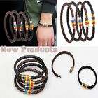 1 PC Gay LGBT Pride Symbol Rainbow Flag Magnetic Buckle Leather Bracelet Bangle