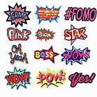 POW WOW BOSS BAM YES Superhero Comic Words Embroidered Patch Iron On Appliques $0.99 USD
