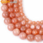 New Natural Round  AAA Orange Sunstone Beads Gemstone for Jewelry Making 15''