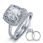 925 Sterling Silver Cushion Cz Wedding Band Engagement Rings Set Size 6-8 Ss2206