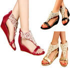 Women's Ankle Strappy Across Gorgeous With Pearls Peep Toes Zipped Sandals