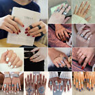Ring Set Women Boho Knuckle Rings Turquoise Arrow Cross Elephant Midi Rings