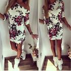 Sexy Women Dress Boatneck Floral Party Evening Clubwear Bodycon Short Mini Dress