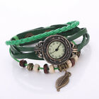 Women's Watch Wrist Watch Bohemian Leaf Analog Quartz Leather Weave Bracelet