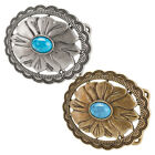 Buckle Rage Woman's Synthetic Turquoise Stone Flower Belt Buckle