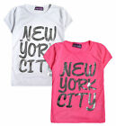 Girls Slogan Top New Kids New York City T-Shirt Short Sleeved NYC Tee 5 - 13 Yrs