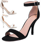 Womens Wide Fit High Heel Stiletto Strappy Sandals Sz 5-10