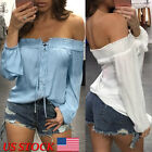 Fashion Sexy Summer Womens Off Shoulder Blouse Tops Ladies Loose Casual T-Shirt