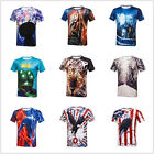 Mens Boy Fashion 3D Print T-Shirt Casual Short Sleeve Round Neck Graphic Slim C8