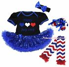 Bastille Day 14th July Bodysuit Blue Sequins Baby Dress Leg Warmer Shoes NB-18M