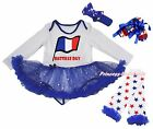Bastille Day Flag L/S Bodysuit Bling Star Baby Dress Leg Warmer Shoes Set NB-18M