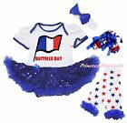 Bastille Day France Flag Bodysuit Blue Sequins Baby Dress Leg Warmer Shoes 0-18M