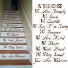 LARGE STAIR RISER STICKERS IN THIS HOUSE RULES YOU ARE WELCOME WE LOVE DECAL
