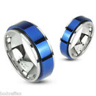 HOT MENS 316L STAINLESS STEEL SILVER WEDDING BAND RING W/BLUE IP SPINNING CENTER
